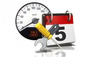 Icon featuring a calendar, screwdriver and a pressure gauge