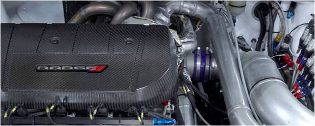 Close-up of the exterior of a Dodge engine