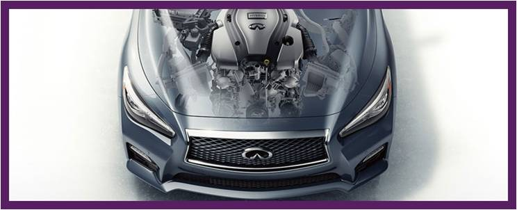 Aerial view of Infiniti car with see-through hood
